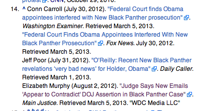 Fresh Wikipedia edits citing conservative media.
