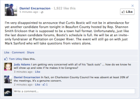 Bostic refuses public forums...lol