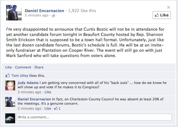 Bostic refuses public forums...lol