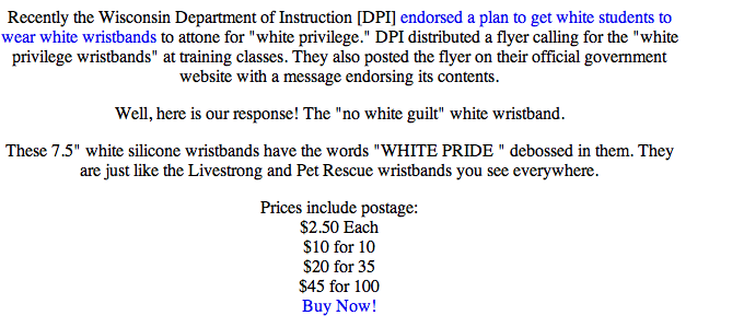 White Pride Wristbands